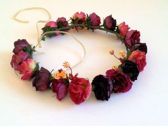 burgundy red bridal flower crown