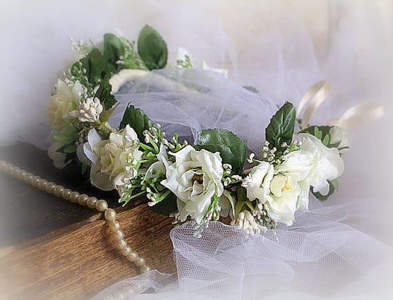white rose bridal flower crown