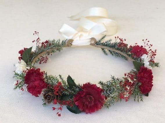 brides red flower crown