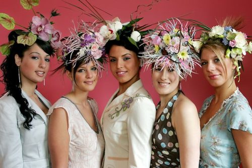 spring racing carnival hats with flowers