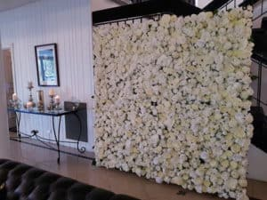 white flower wall in lounge