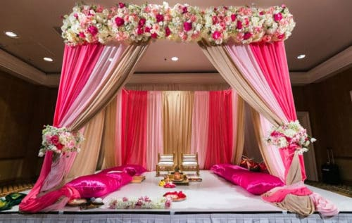 Saree Ceremony pink decor