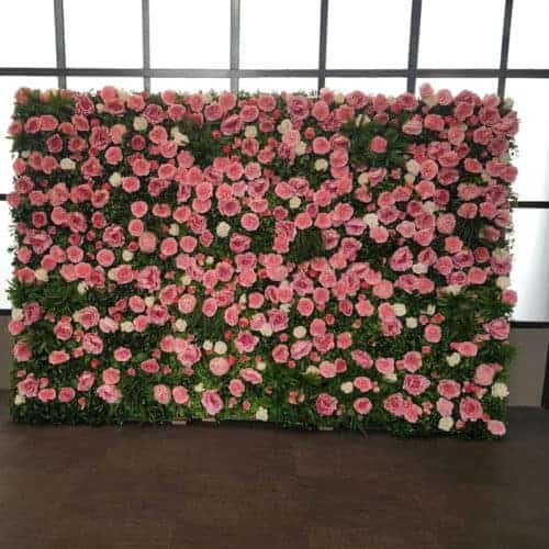 pink, white and green flower wall