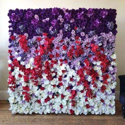 purple, red and white flower wall