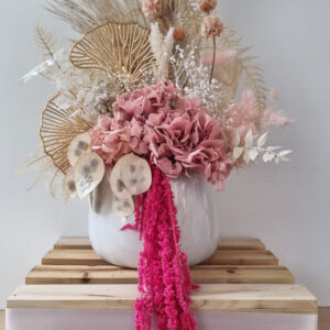 gold pink preserved flower arrangement medium