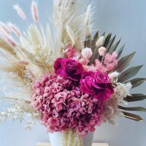 pink roses preserved flower arrangement medium