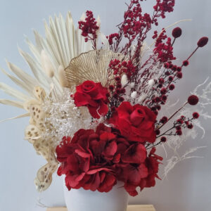 romantic red preserved flower arrangement medium