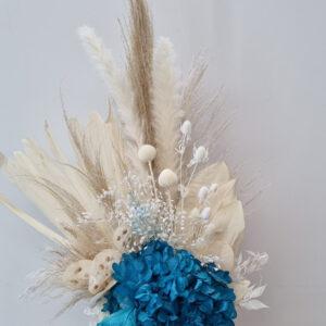 teal preserved flower arrangement small